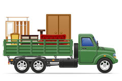 Cargo truck delivery and transportation of furniture concept vec Stock Photography