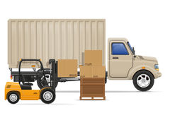Cargo truck delivery and transportation goods concept vector ill Stock Photo