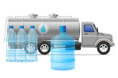 Cargo truck delivery and transportation of purified drinking wat Stock Images