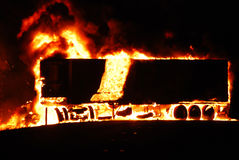 Cargo truck on fire Stock Photos