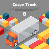 Cargo Truck and Intermodal Containers Web Banner. Royalty Free Stock Images