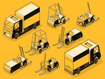 Cargo truck and loading machines line vector set stock illustration