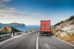 Cargo truck on the mountain highway Stock Image