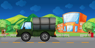 A cargo truck near the school Stock Images