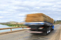 Cargo truck over bridge Royalty Free Stock Images