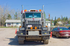 A cargo truck parked at a rest area in canada Royalty Free Stock Images