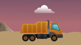 Cargo truck passing by construction zone HD definition. Cargo truck passing by construction zone High definition colorful scenes stock footage