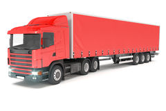 Cargo truck - red - shot 01 Royalty Free Stock Images