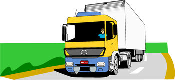 Cargo Truck On The Road. Yellow, blue and white cargo truck moves on an empty road Royalty Free Stock Photography
