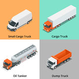 Cargo Truck set icons. Snow Plow Truck, Small Cargo Truck, Concrete Mixer, Dump Truck, Oil Tanker, Garbage Truck. Truck Royalty Free Stock Photo