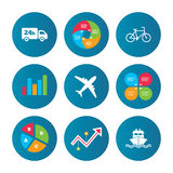 Cargo truck, shipping, bicycle. Delivery service. Business pie chart. Growth curve. Presentation buttons. Cargo truck and shipping icons. Shipping and eco Royalty Free Stock Photo