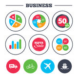 Cargo truck, shipping, bicycle. Delivery service. Business pie chart. Growth graph. Cargo truck and shipping icons. Shipping and eco bicycle delivery signs Royalty Free Stock Image