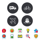 Cargo truck, shipping, bicycle. Delivery service. Cargo truck and shipping icons. Shipping and eco bicycle delivery signs. Transport symbols. 24h service Stock Images