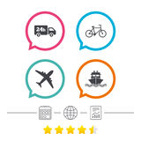 Cargo truck, shipping, bicycle. Delivery service. Cargo truck and shipping icons. Shipping and eco bicycle delivery signs. Transport symbols. 24h service Royalty Free Stock Image