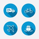 Cargo truck, shipping, bicycle. Delivery service. Cargo truck and shipping icons. Shipping and eco bicycle delivery signs. Transport symbols. 24h service. Circle Royalty Free Stock Images