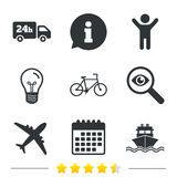 Cargo truck, shipping, bicycle. Delivery service. Cargo truck and shipping icons. Shipping and eco bicycle delivery signs. Transport symbols. 24h service Royalty Free Stock Photography