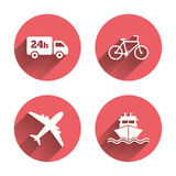 Cargo truck, shipping, bicycle. Delivery service. Cargo truck and shipping icons. Shipping and eco bicycle delivery signs. Transport symbols. 24h service. Pink Stock Photos