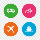 Cargo truck, shipping, bicycle. Delivery service. Cargo truck and shipping icons. Shipping and eco bicycle delivery signs. Transport symbols. 24h service. Round Royalty Free Stock Photography