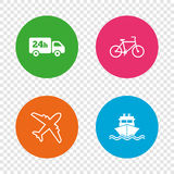 Cargo truck, shipping, bicycle. Delivery service. Cargo truck and shipping icons. Shipping and eco bicycle delivery signs. Transport symbols. 24h service. Round Stock Photos