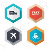 Cargo truck, shipping. Free delivery service. Hexagon buttons. Cargo truck and shipping icons. Shipping and free delivery signs. Transport symbols. 24h service Stock Image