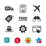 Cargo truck, shipping. Free delivery service. Cargo truck and shipping icons. Shipping and free delivery signs. Transport symbols. 24h service. Browser window Stock Photos