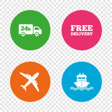Cargo truck, shipping. Free delivery service. Cargo truck and shipping icons. Shipping and free delivery signs. Transport symbols. 24h service. Round buttons on Stock Images