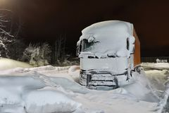 Cargo Truck In Snow Royalty Free Stock Photography