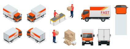 Cargo Truck transportation, delivery man, boxes.   Royalty Free Stock Photo