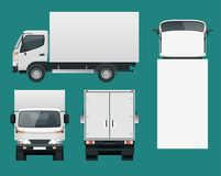 Cargo Truck transportation. Fast delivery or logistic transport.. Easy color change. Template vector isolated on white View front, rear, side, top Royalty Free Stock Photo