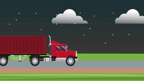 Cargo truck traveling HD animation HD animation. Cargo truck traveling at night on higway High definition animation colorful scenes High definition animation stock video