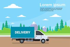 Cargo Truck Van On Road With Mountains Background Shipment And Delivery Concept Royalty Free Stock Photo