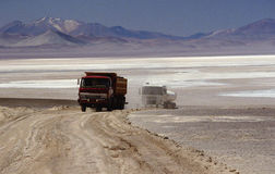 Cargo trucks. Mining cargo trucks at atacama desert in chile Royalty Free Stock Image