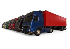 Cargo Trucks fleet concept Royalty Free Stock Photo