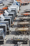Cargo trucks on the flight field Stock Photo