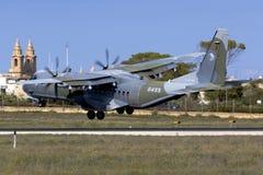 Cargo Turboprop Military Airplane landing Stock Images