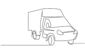 Cargo van continuous one line vector drawing royalty free stock photo
