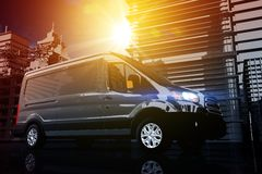 Cargo Van Delivery. Shipping Concept Illustration. Courier Van in the City Stock Photos