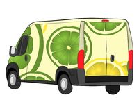 Cargo van with lime aerography aerography drawing illustration royalty free stock photos