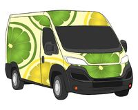 Cargo van with lime aerography aerography drawing illustration stock photo