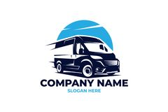 Cargo van logo, illustration EPS 10 file. Logo with a stylized image of a mini van, perfect for a transport company or a company engaged in delivery or road stock illustration