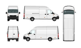 Cargo van vector illustration blank on white. City commercial minibus. Delivery vehicle Royalty Free Stock Photo