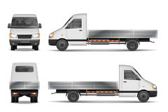 Cargo van vector illustration isolated on white. City commercial lorry. delivery vehicle mockup from side, front and Royalty Free Stock Image