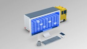 A cargo vehicle is going through a mobile x-ray control. Cargo scanning Stock Image