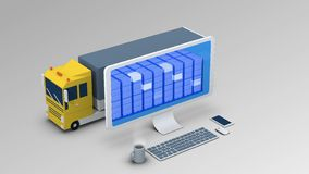 A cargo vehicle is going through a mobile x-ray control. Cargo scanning Royalty Free Stock Image