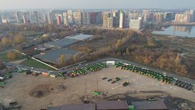 View from the drone of the truck parking stock video footage