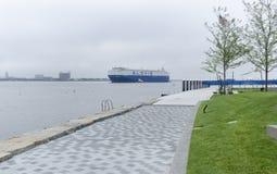 Cargo vessel Boston harbor Royalty Free Stock Photos