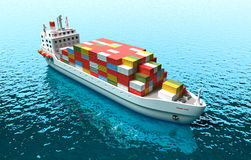 Cargo vessel . 3D illustration of cargo ship in the sea Stock Photo