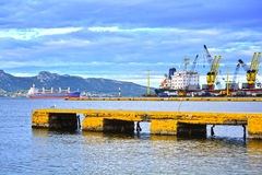 Cargo vessel at the dock Royalty Free Stock Image