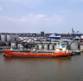 Cargo vessel in sea port Rotterdam, Netherlands. Stock Photography