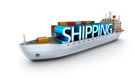 Cargo vessel with shipping word. Stock Image